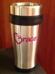 These 16 oz. black insulated stainless steel travel mugs come with the Hope in Grace logo imprinted on both sides in a magenta color. With stainless steel outer walls and double wall plastic insulated inner liner, smooth curved body for easy grasp and spill proof plastic lids with slide locks, these will soon become the to-go-to in the safe transport of your beverages. These mugs are available for purchase on our website for $10 or you can buy yours at our event on April 26th and receive it FULL of Caribou coffee!